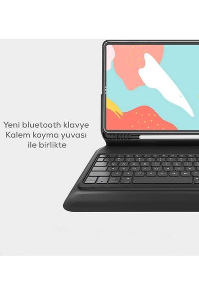 Jacquen Apple iPad Pro 11 2020 Keyboard Folio Kablosuz Klavyeli Kılıf Şeffaf