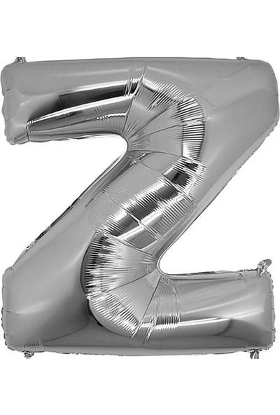 Kullanatparty Parti Malzemesi Doğum Günü Folyo Balon Helyum Ile Şişen Gümüş Renk-Z HARFI-100 cm ( 42 Inç )
