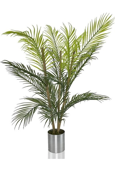 Nettenevime Yapay Çiçek Areka Ağacı Palmiye Ağacı Bambu Saplı Gümüş Saksılı Salon Çiçeği 18 Yaprak 85 cm