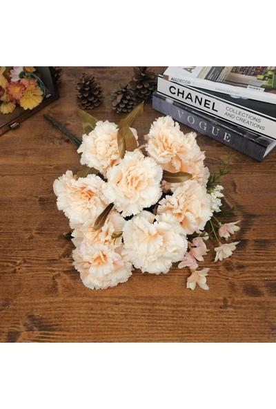 Nettenevime Yapay Çiçek Karanfil Demeti Somon 9 Kafalı Büyük Boy 45CM