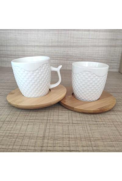 Modernica 2 Li Bambu Tabaklı Porselen Kahve Fincanı