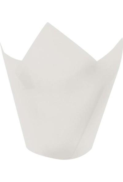 Bens Muffin Cupcake Mini Kek Kalıbı Kapsülü (Beyaz) Tulip - 200'LÜ