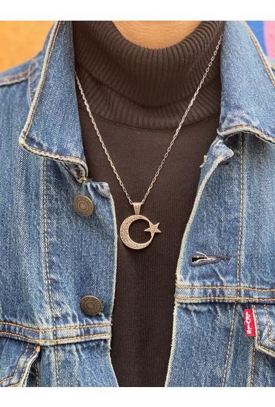 Takılingo 925 Ayar Gümüş Kelime-I Tevhid Işlemeli Ayyıldız Erkek Kolye