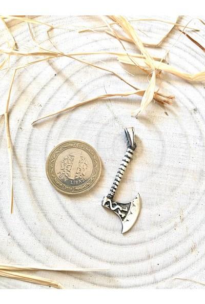 Takılingo 925 Ayar Gümüş Balta Motifli Bamsı Model Erkek Kolye