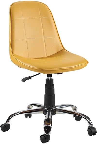 Sandino Naz - Hardal , Suni Deri, Metal Ayaklı Ofis Çalışma Sandalyesi
