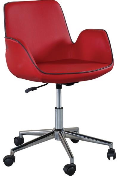 Sandino Lale Kırmızı - Deri, Metal Ayaklı Ofis Çalışma Sandalyesi