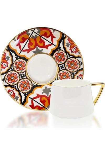 Winterbach Ethnic Desenli Turuncu Kahve Takımı 6 Kişilik