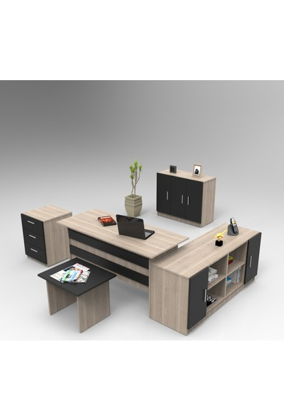 Robin Home Verona Abcef Ofis Büro Makam Takımı Meşe-Siyah