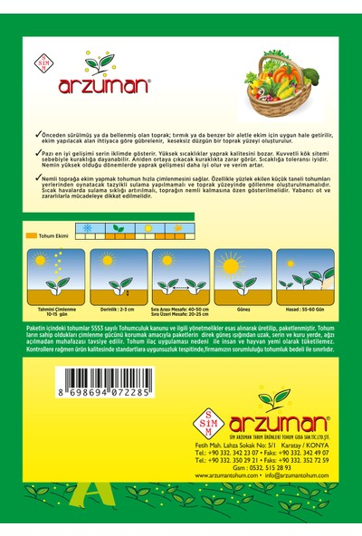 Arzuman Geniş Yaprak Pazı Tohumu 10 Gram