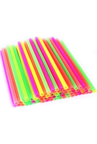 İhtiyaç Limanı Renkli Frozan Kalın Boru Pipet Içeçek Pipeti 22 cm 100 Adet