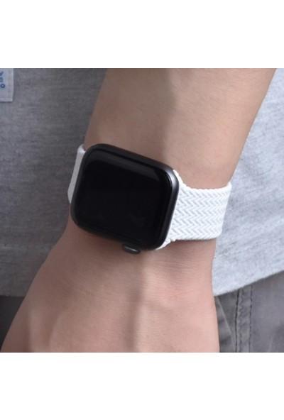 Schulzz Apple Watch Seri 3-4-5-6-Se Premium 42-44 mm Örgülü Solo Silikon Kordon