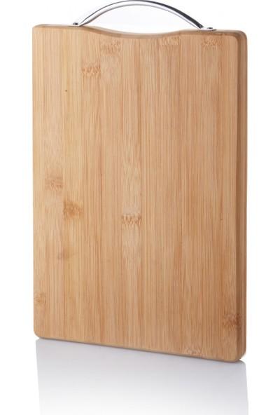Queen's Kitchen Metal Tutacaklı Lüx Bambu Kesme Tahtası