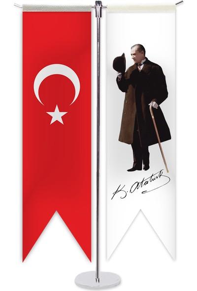 ReklamEdiyoruz Atatürk ve Türk Bayragı T Masa Bayragı