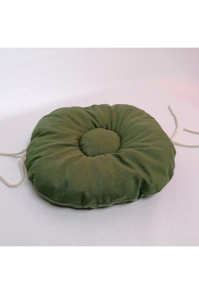 Apaydın Düz Renk Pofidik Yuvarlak Tabure Sandalye Minderi Yeşil