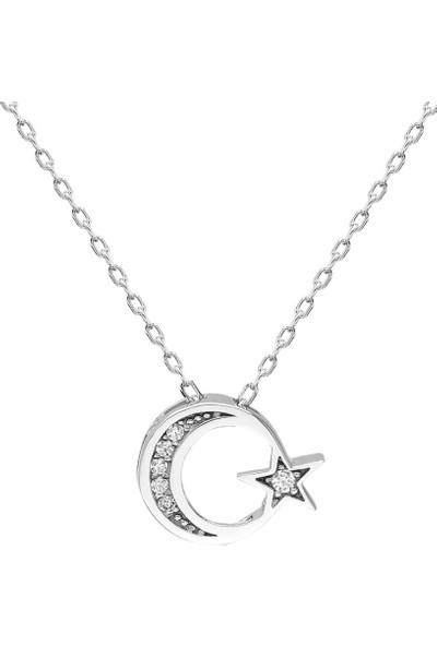 MaGümüş Swarovski Taşlı Ayyıldız 925 Gümüş Kolye