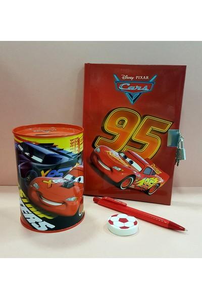 Disney Cars Cars Kilitli Hatıra ve Günlük Defteri + Metal Kumbara + Versatil Kalem + Silgi Set