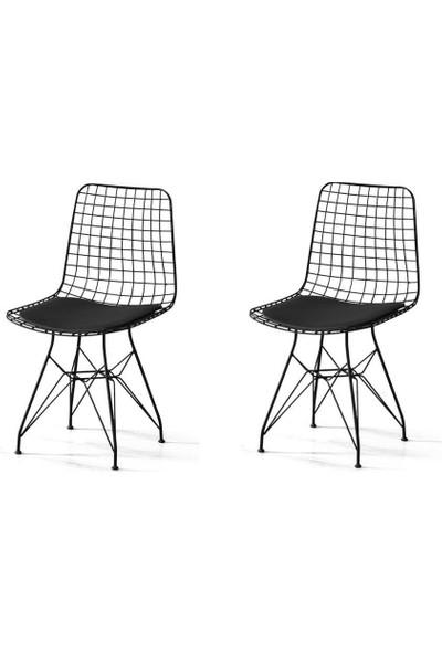 Sivasgözde Metal Telli Mutfak Cafe Ofis Bahçe Sandalyesi 2li Set