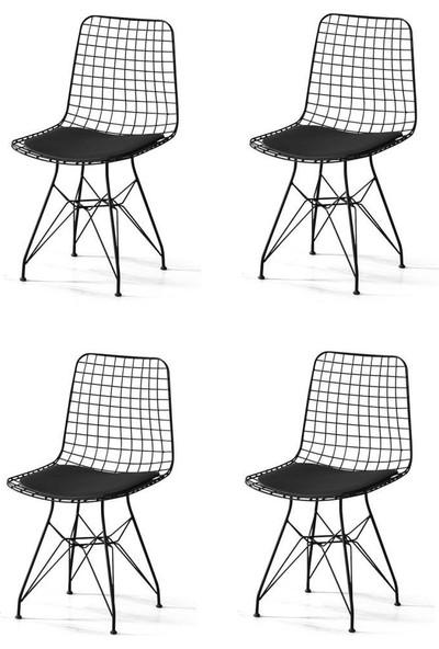 Sivasgözde Metal Telli Mutfak Cafe Ofis Bahçe Sandalyesi 4lü Set