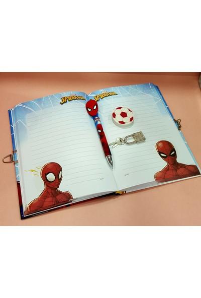 Spiderman Kilitli Hatıra ve Günlük Defteri Versatil Kalem Silgi Set