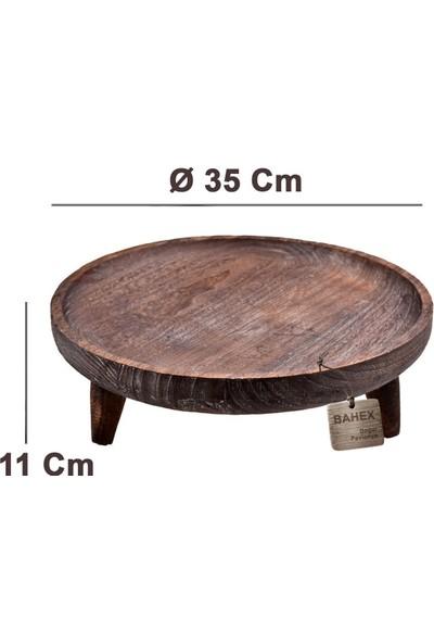 Bambum Alina Ayaklı Sunum Tepsisi Büyük Otantik Eskitme Efektli