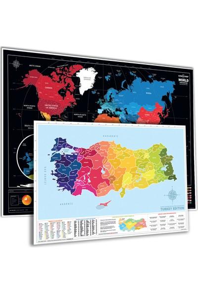 Popseker Colorfull Güneş Sistemli Bayraklı Dünya + Alan Kodlu Plakalı Türkiye Haritası 2'li Set Xl