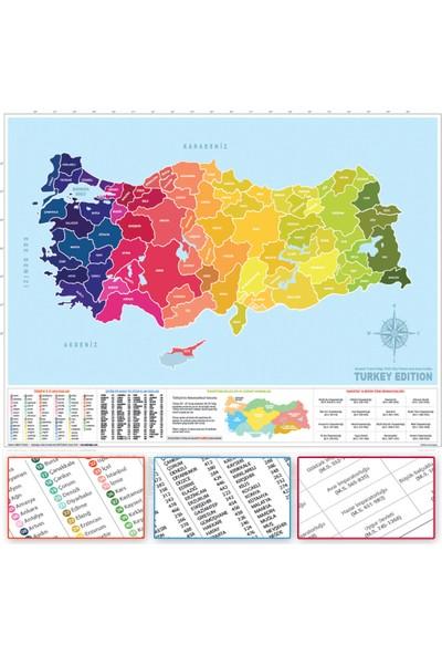 Popseker Colorfull Light Tasarım Türkiye Haritası Il Plakalı Alan Kodlu Büyük Boy Xl