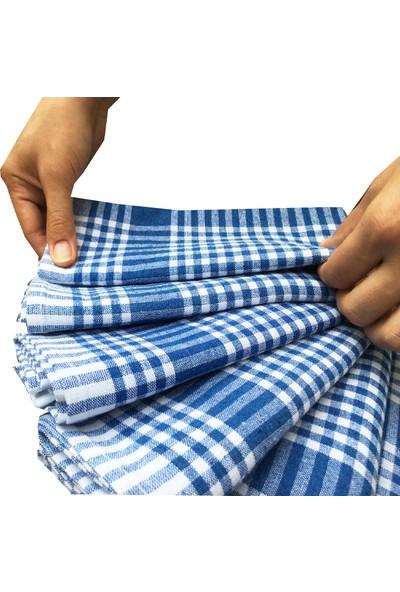 Yavuz Tekstil 6'lı Mavi & Beyaz Pamuk Mutfak Kurulama Bezi & Servis Peçetesi Seti