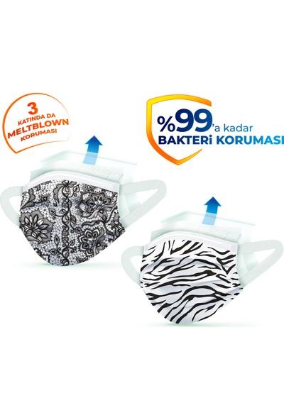 Evony Elastik Kulaklı Trendy Desenli Maske 160 Adet