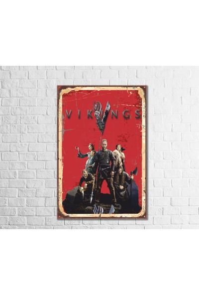 Fandomya Ahşap Poster Vikings 12 x 17 cm + Çift Taraflı Bant