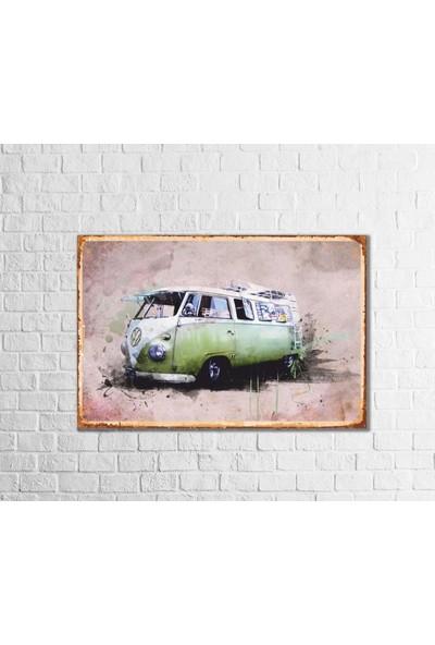 Fandomya Ahşap Poster Volkswagen Bus 12 x 17 cm + Çift Taraflı Bant