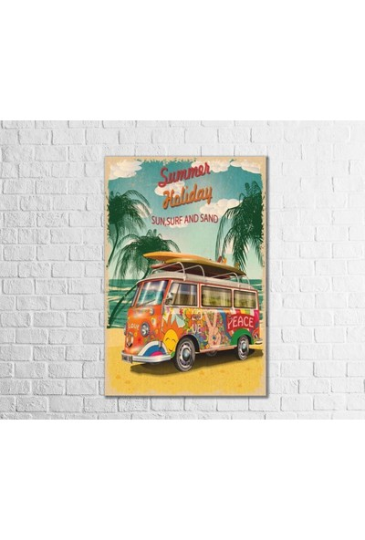 Fandomya Ahşap Poster Summer Holiday 12 x 17 cm + Çift Taraflı Bant