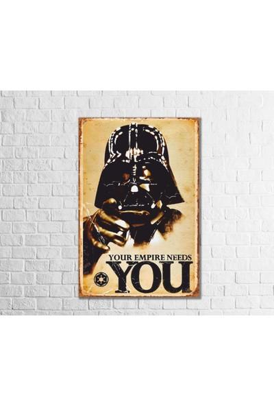 Fandomya Ahşap Poster Star Wars Darth Vader 12 x 17 cm + Çift Taraflı Bant