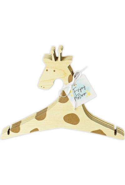 Enjoy Zürafa Ahşap Bebek Giysi Askısı 10'lu Set