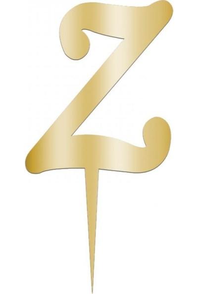 Kullanatparty Pasta Süsü Parlak Pleksi Harf Z Harfi-Altın Renk