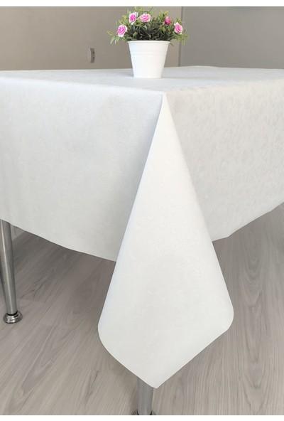Yeşil Home Masa Örtüsü Muşamba Pvc Astarlı Beyaz