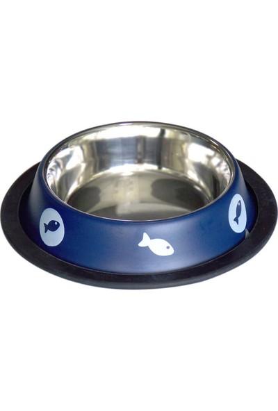Tommy Balık Desenli Çelik Mama ve Su Kabı 17CM 240 ml (Mavi)