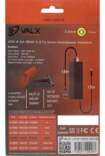 Valx LA-20055 20V 90W 5.5x2.5 Notebook Adaptör
