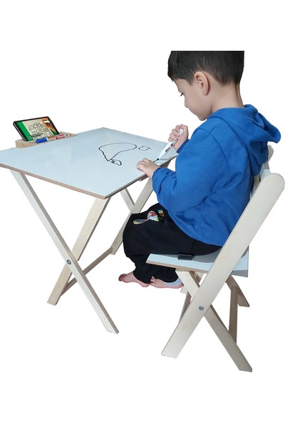 Muny Wood Ahşap Katlanır Çocuk Masa Sandalye Takımı