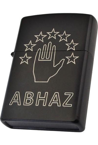 Anahtarlık Sepeti Benzinli Çakmak Abhaz Bayrak Figürlü - Siyah