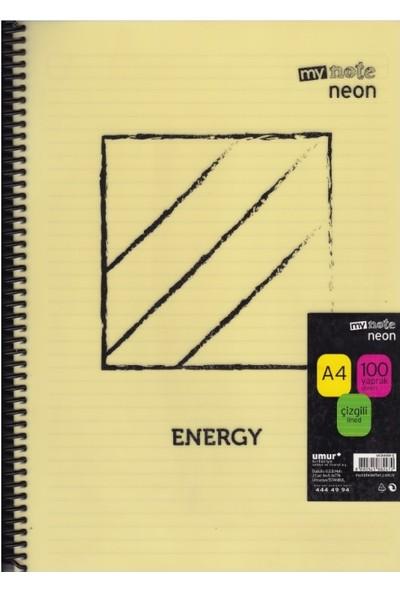 Mynote Neon A4 100 Yaprak Çizgili Defter UC34100-Ç Sarı Desenli