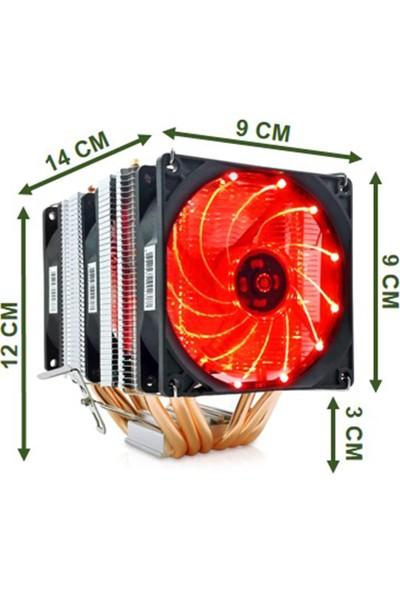 Snowman X6 6 Bakır Borulu Cpu Soğutucu Fan Kırmızı