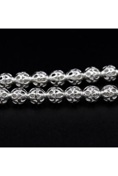 Akyüz Gümüş Yuvarlak Model Telkari Gümüş Tesbih 046