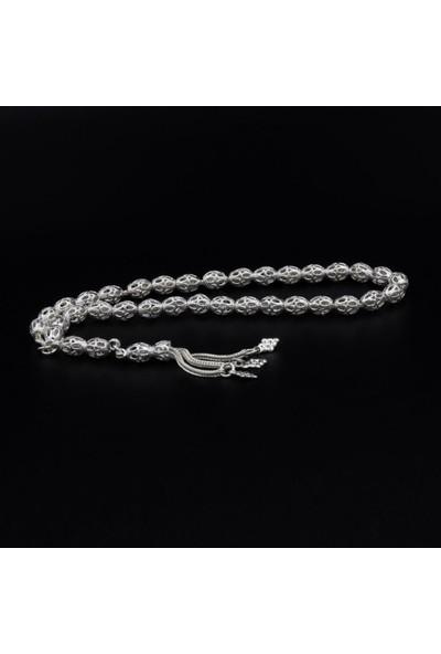Akyüz Gümüş Işlemeli Oval Model Telkari Gümüş Tesbih 047
