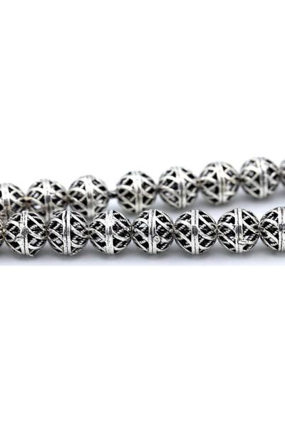 Akyüz Gümüş Yuvarlak Model Oksitli Telkari Gümüş Tesbih 049