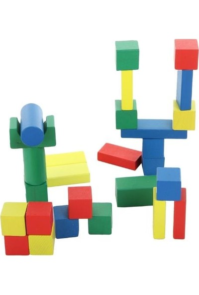 Hongji Ahşap Yapı Seti Ahşap Bloklar 80 Parça EN71 Belgeli (Büyük KOVALI)-HJD93709