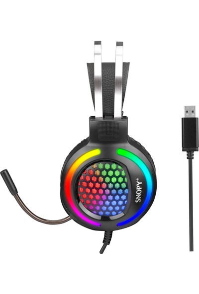 Snopy SN-GX82 Exodus 7.1 USB Surround Oyuncu Mikrofonlu Kulaklık Siyah