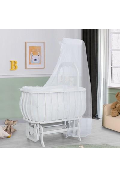 Setay Beşik Mdf Sepet Beşik Oyuncaklı Beyaz cm Yatak Cibinlik