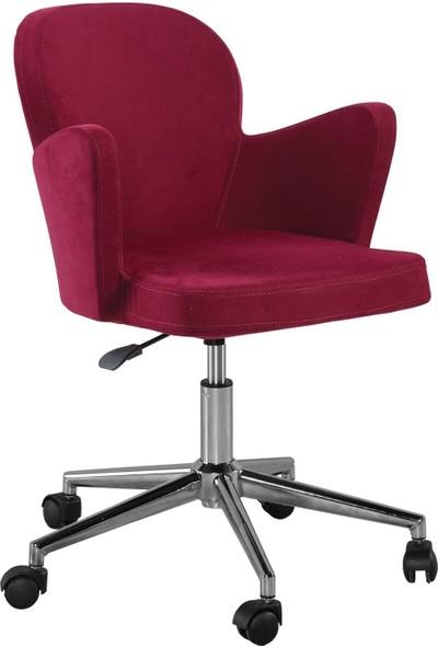 Sandino Kelebek - Kırmızı, Kumaş, Metal Ayaklı Ofis Çalışma Sandalyesi