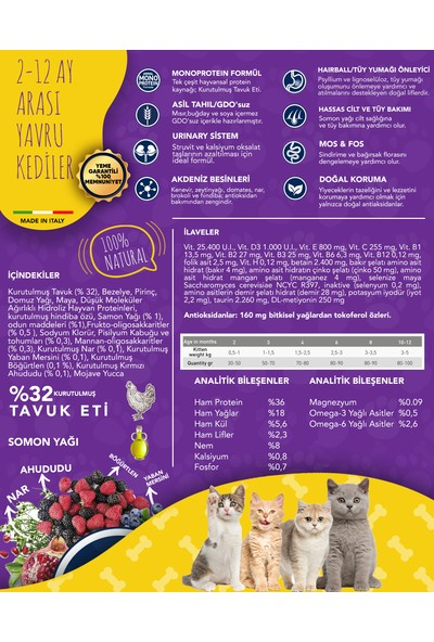 Exclusion Düşük Tahıllı Monoprotein Kitten Tavuklu Yavru Kedi Maması 300 gr