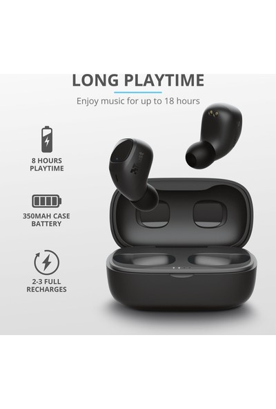 Trust Nika Compact Siyah Bluetooth Kulaklık + Pembe Powerbank + Bluetooth Hoparlör